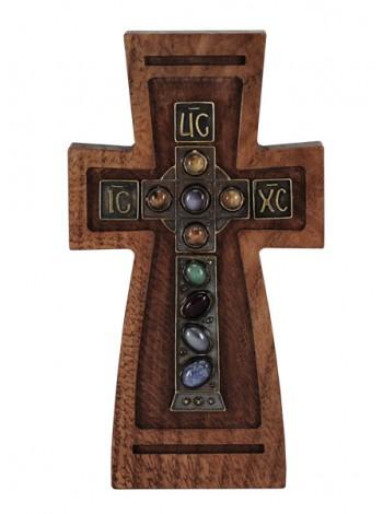 Крест настенный с камнями