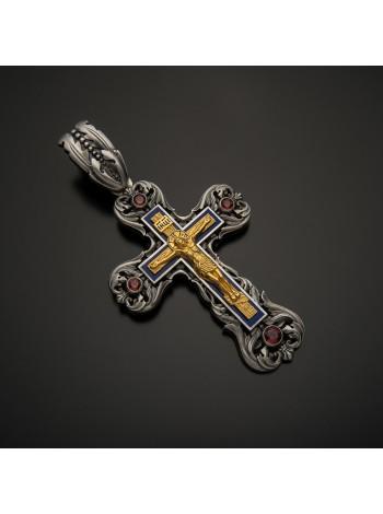 Крест православный серебряный с гранатами, позолотой и эмалью
