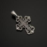Крестик нательный из белого золота с бриллиантами