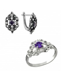 Серебряный гарнитур кольцо и серьги
